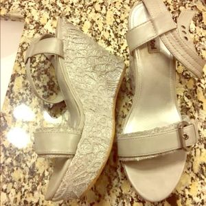 Not Rated Silver Wedge Heels